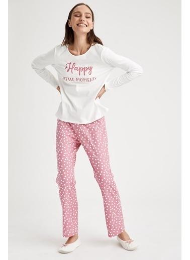 Defacto –Fit Baskılı Pijama Takımı Pembe